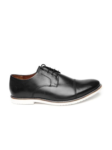 Carlton London Men Black Leather Semiformal Derby Shoes