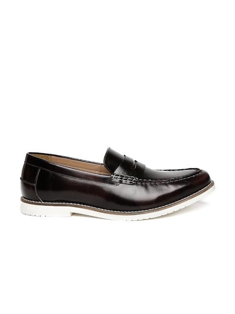 Carlton London Men Burgundy Leather Semiformal Slip-Ons