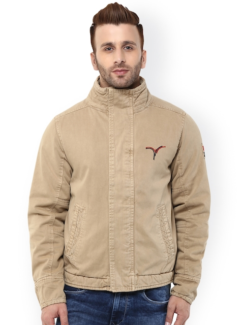 Monteil & Munero Khaki Bomber Jacket  available at myntra for Rs.1999