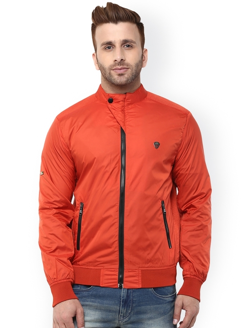 Monteil & Munero Rust Orange Bomber Jacket  available at myntra for Rs.1749