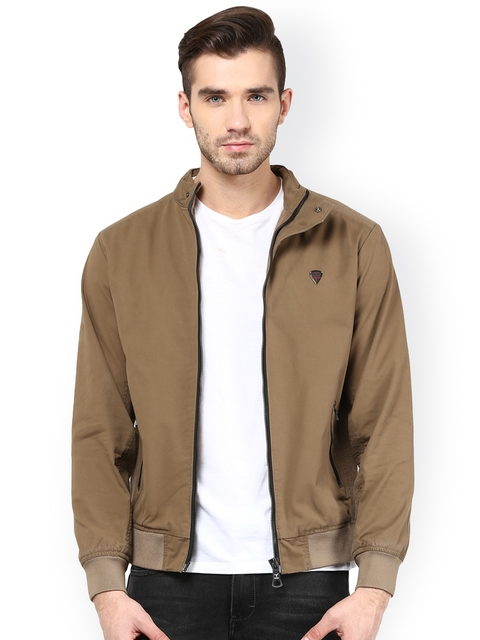 Monteil & Munero Brown Bomber Jacket  available at myntra for Rs.1749