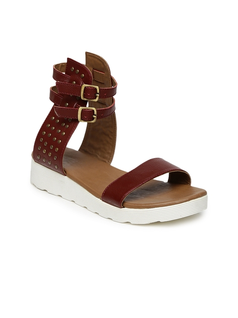 Knotty Derby Women Maroon Helena Studded Flatforms  available at myntra for Rs.625