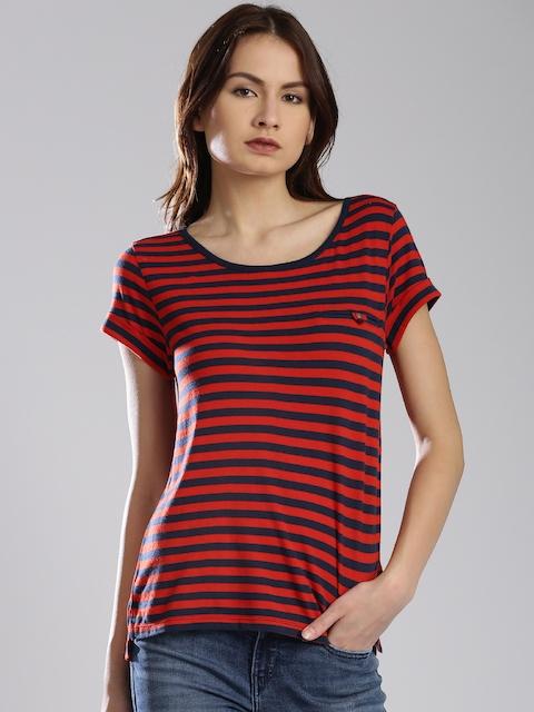 Levis Women Red & Navy Striped T-Shirt