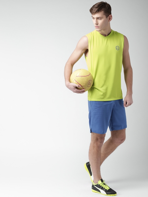 U.S. Polo Assn. Men Fluorescent Green Solid Round Neck T-shirt