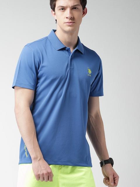 U.S. Polo Assn. Men Blue Solid Polo T-shirt