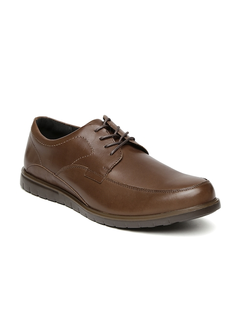 Hush Puppies Men Brown Leather Semiformal Derby Shoes