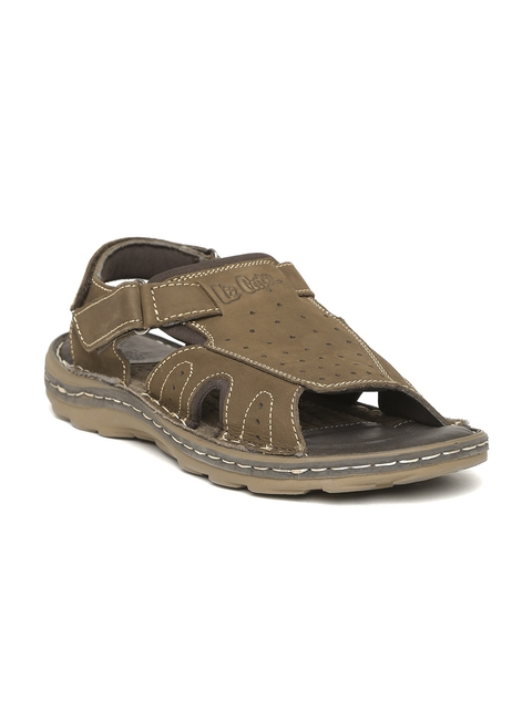 Lee Cooper - - Lee Cooper Men Olive Brown Leather Sandals