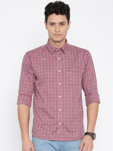 Park Avenue Men Red & Blue checked Casual Shirt