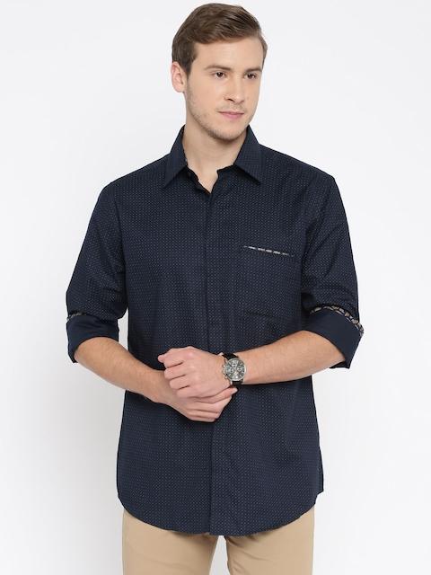 Park Avenue Men Navy Blue Printed Slim Fit Casual Shirt