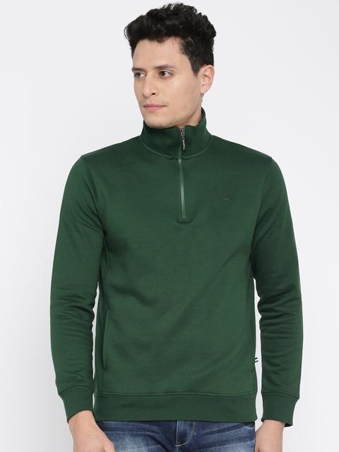 Park Avenue Men Green Solid T-Shirt