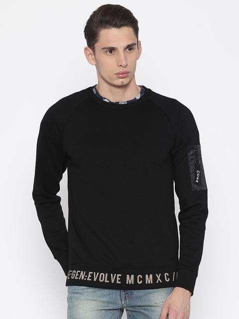 Jack & Jones Men Black Solid Sweatshirt