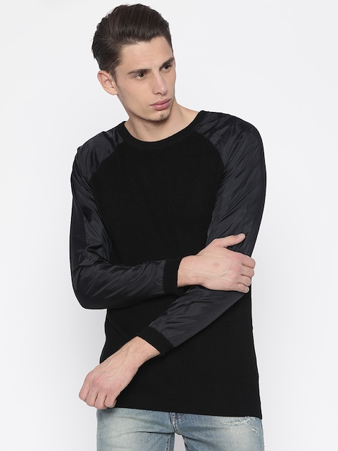 Jack & Jones Men Black Solid Pullover