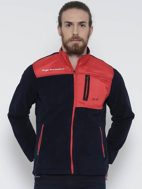 Cloak & Decker by Monte Carlo Navy & Red Colourblocked Fleece Sweatshirt