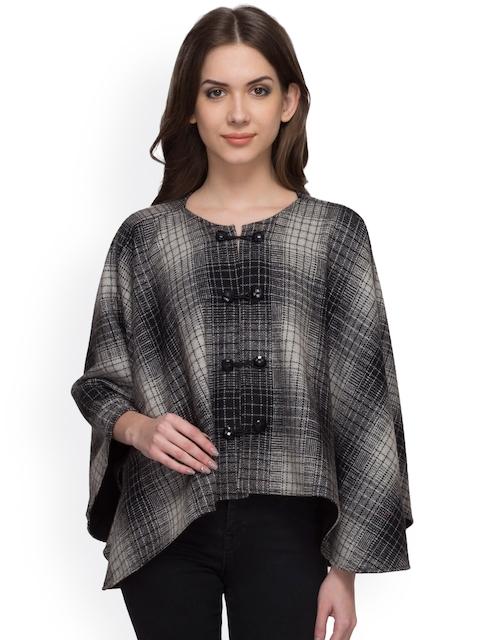 Athena Grey Checked Woollen Cape Jacket