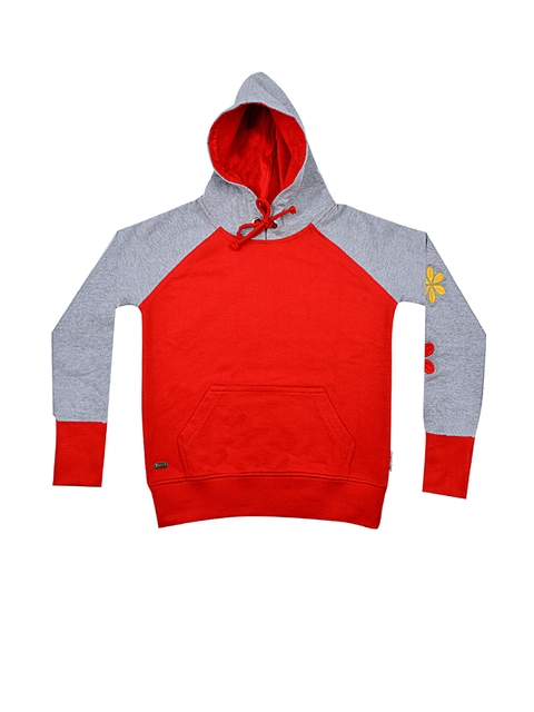 GKIDZ Girls Red & Grey Hooded Sweatshirt