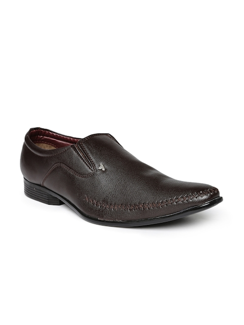 Provogue Men Brown Pointy-Toed Formal Slip-On Shoes