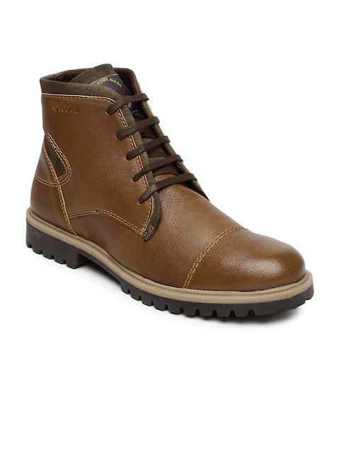 Provogue Men Brown Solid High-Top Flat Boots