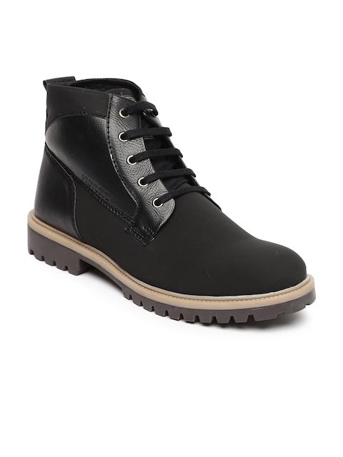 Provogue Men Black Solid High-Top Flat Boots