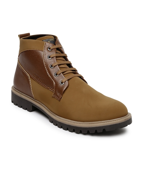 Provogue Men Tan Brown Colourblocked Flat Boots