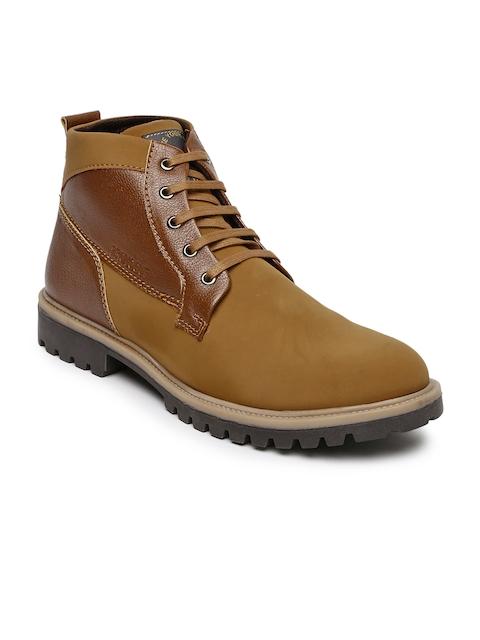 Provogue Men Tan Brown Colourblocked Flat Boots