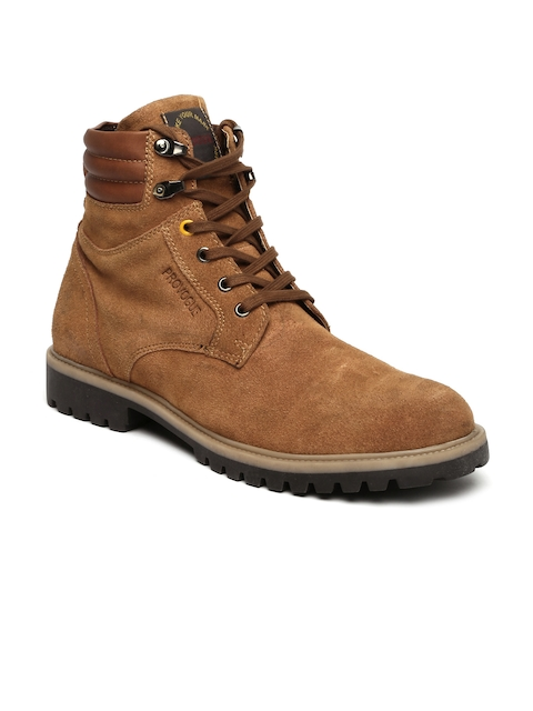 Provogue Men Brown High-Tops Suede Flat Boots