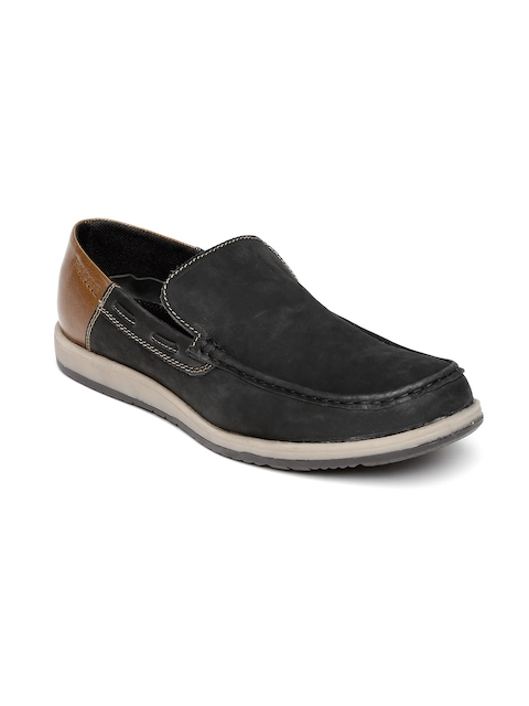 Provogue Men Black & Brown Colourblocked Slip-Ons