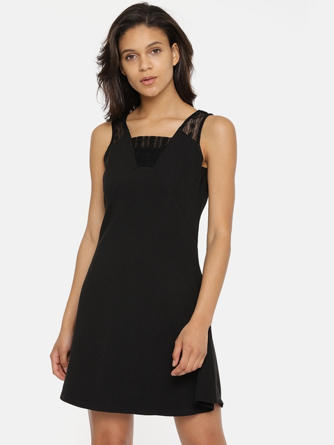 Vero Moda Women Black Solid Fit & Flare Dress