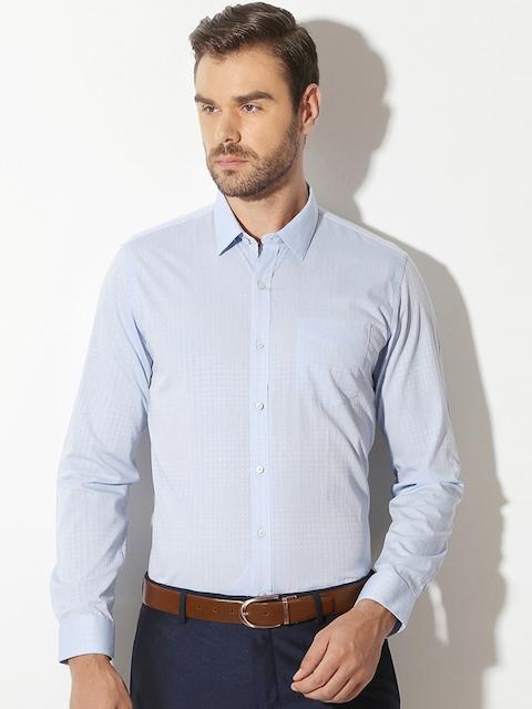 Van Heusen Men Blue Slim Fit Self-Design Formal Shirt