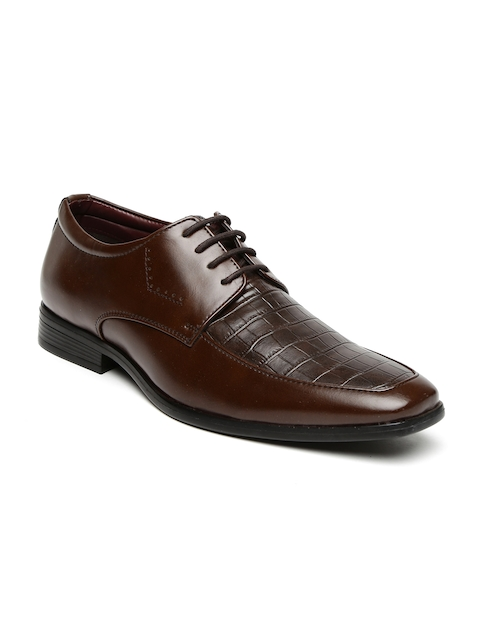 Bata Men Brown Textured Semiformal Derby Shoes