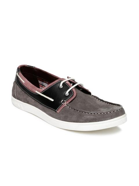 Bata Men Grey Colourblocked Suede Leather Boat Shoes