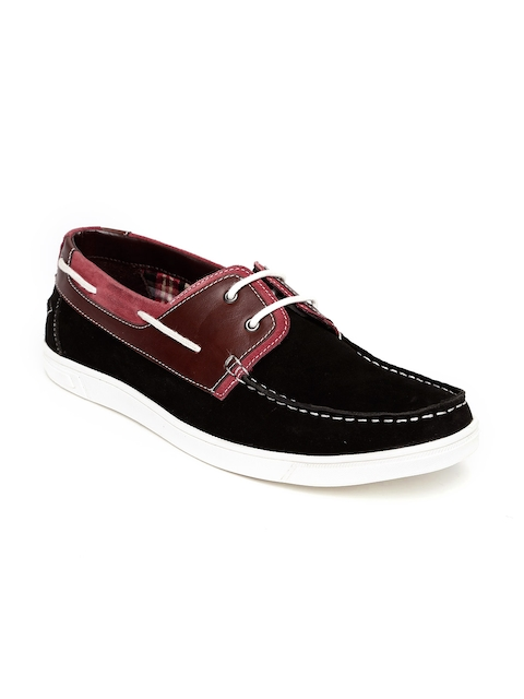 Bata Men Black & Brown Colourblocked Ford Suede Boat Shoes