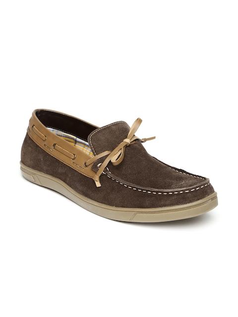 Bata Men Brown Solid Tom Suede Boat Shoes
