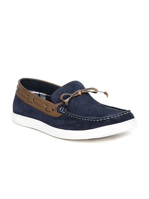 Bata Men Blue & Brown Colourblocked Suede Boat Shoes