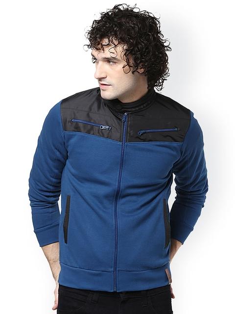 ELABORADO Blue & Black Colourblocked Sweatshirt