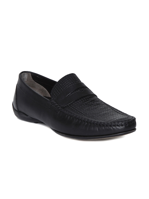 Kenneth Cole Men Black Perforated Leather Loafers