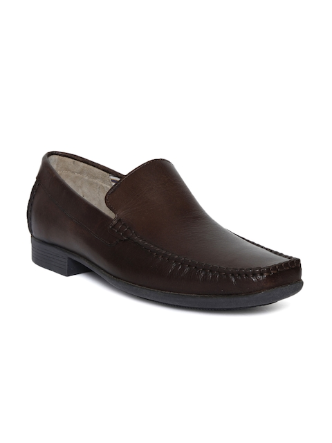 Kenneth Cole Men Brown Square-Toed Leather Semiformal Slip-Ons