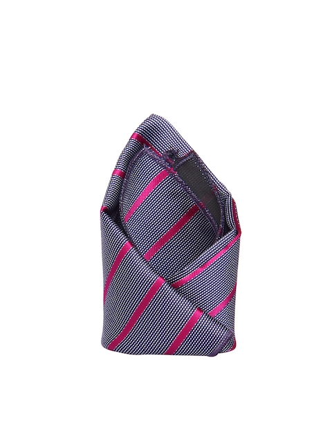 Tossido Grey & Pink Striped Pocket Square