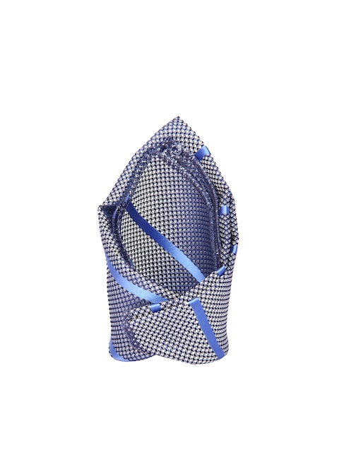 Tossido Blue & White Patterned & Striped Pocket Square