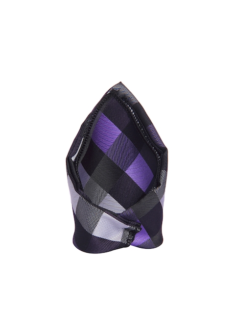 Tossido Purple & Black Checked Pattern Pocket Square