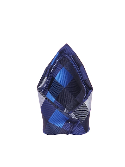Tossido Navy Purple & Blue Checked Pattern Pocket Square