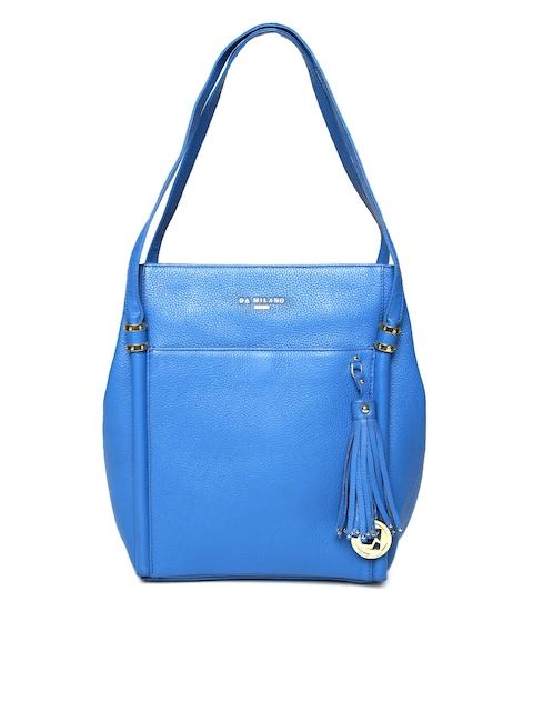 Da Milano Blue Wax Leather Shoulder Bag