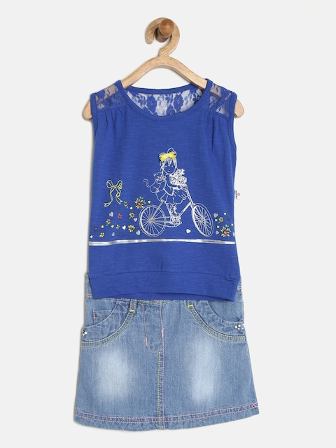 Peppermint Girls Blue Printed Clothing Set  available at myntra for Rs.499