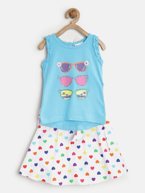Peppermint Girls Blue & White Printed Clothing Set  available at myntra for Rs.479