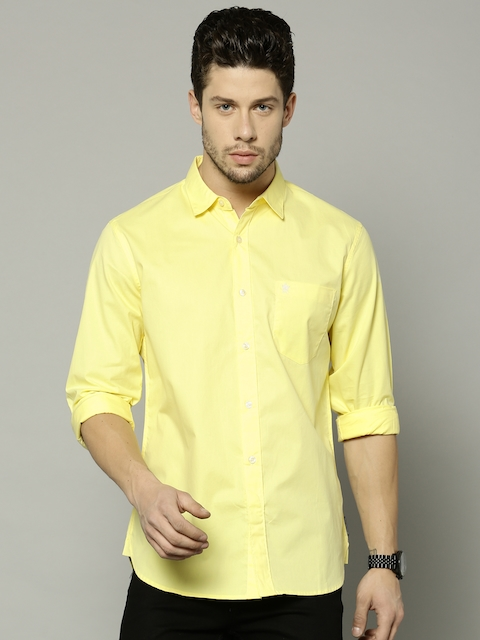 French Connection Men Yellow Slim Fit Solid Casual Shirt