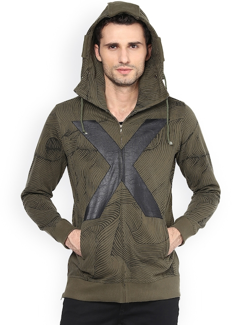 PUNK Olive Green Printed Hooded Sweatshirt