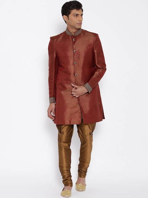 Manish Creations Maroon & Brown Brocade Pattern Handcrafted Sherwani