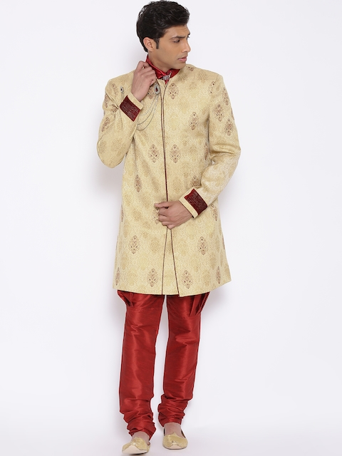Manish Creations Beige & Red Tanchoi Pattern Handcrafted Sherwani