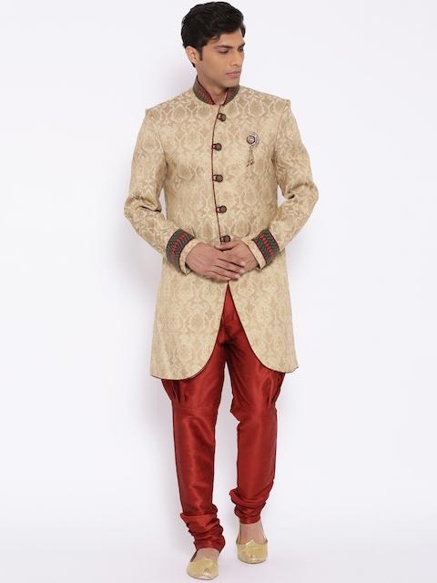 Manish Creations Beige & Red Tanchoi Pattern Handcrafted Sherwani