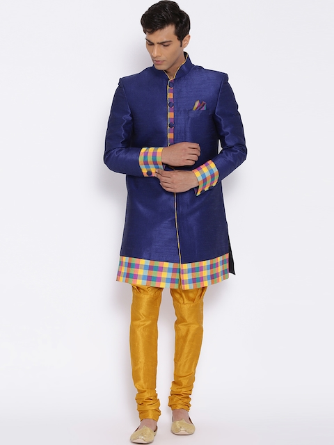 Manish Creations Blue & Mustrad Yellow Handicraft Sherwani