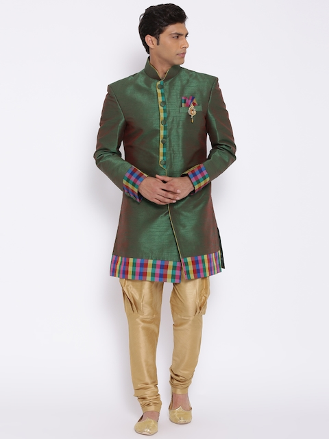 Manish Creations Green & Beige Dual-Toned Raw Silk Handcrafted Sherwani